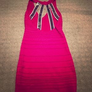 Hot Pink Bodycon Dress with Sequin Straps